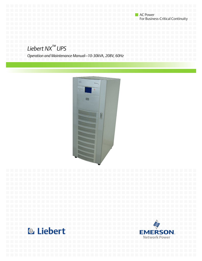 Phenomenal Liebert Nx Ups Operation And Maintenance Manual10 30Kva 208V 60Hz Wiring Cloud Oideiuggs Outletorg