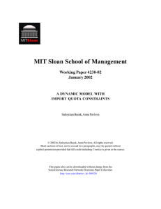 MIT Sloan School of Management Working Paper 4230-02 January 2002 A DYNAMIC MODEL WITH