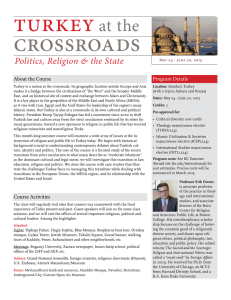 turkey crossroads at the Politics, Religion & the State