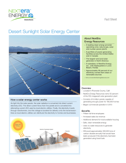 Desert Sunlight Solar Energy Center Fact Sheet About  NextEra Energy Resources