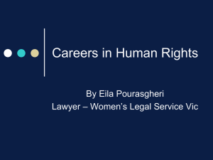 Careers in Human Rights By Eila Pourasgheri – Women's Legal Service Vic Lawyer