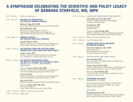 A SYMPOSIUM CELEBRATING THE SCIENTIFIC AND POLICY LEGACY