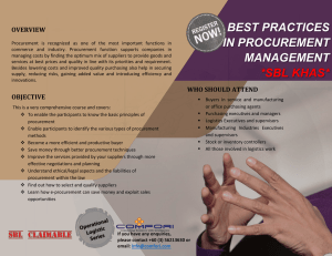 BEST PRACTICES IN PROCUREMENT  OVERVIEW