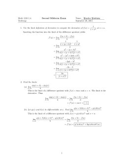Math 1210 § 4. Second Midterm Exam Name: Practice Problems