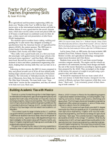 Tractor Pull Competition Teaches Engineering Skills F By Susan McGinley