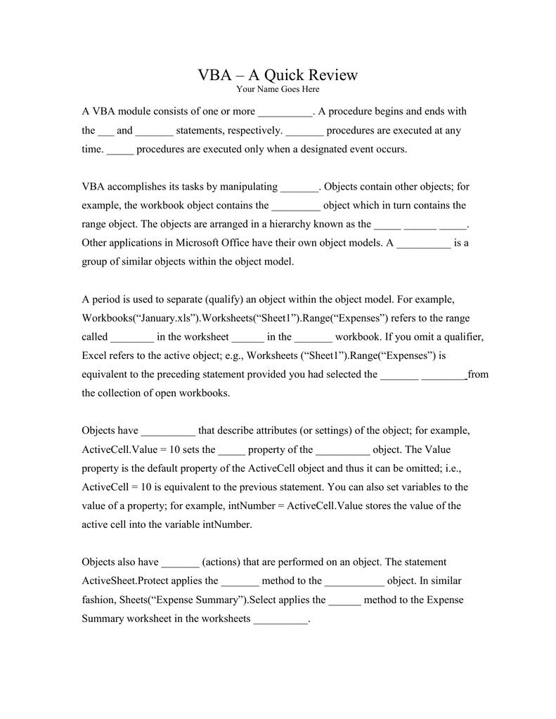 VBA – A Quick Review