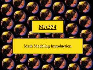 MA354 Math Modeling Introduction