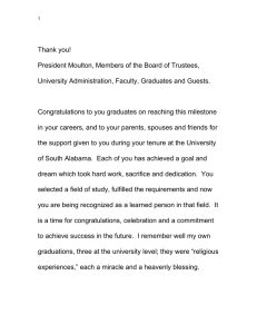 Thank you! President Moulton, Members of the Board of Trustees,