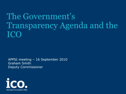 The Government's Transparency Agenda and the ICO APPSI meeting – 16 September 2010