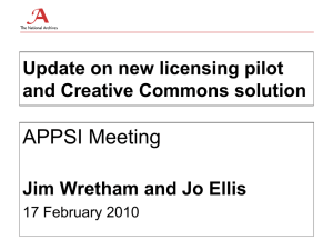 APPSI Meeting Update on new licensing pilot and Creative Commons solution