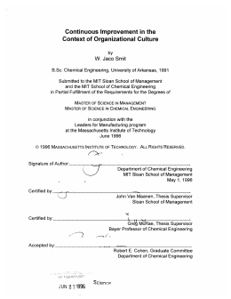 Continuous  Improvement  in the Context  of Organizational Culture W.