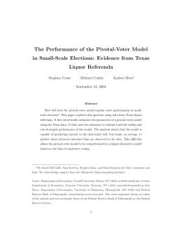 The Performance of the Pivotal-Voter Model Liquor Referenda