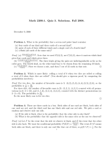 Math 2200-1. Quiz 3. Solutions. Fall 2008.