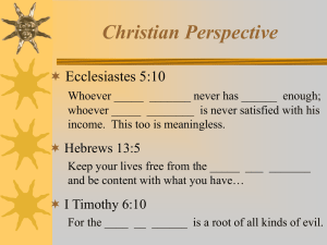 Christian Perspective Ecclesiastes 5:10 