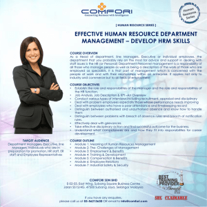 EFFECTIVE HUMAN RESOURCE DEPARTMENT MANAGEMENT – DEVELOP HRM SKILLS