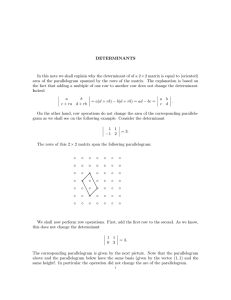 DETERMINANTS In this note we shall explain why the determinant of...