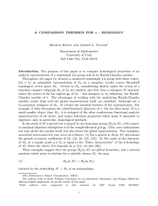 A COMPARISON THEOREM FOR n - HOMOLOGY Department of Mathematics