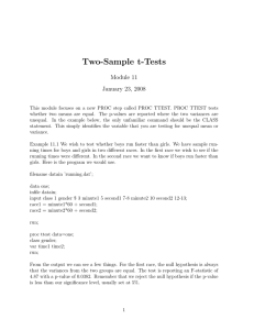Two-Sample t-Tests Module 11 January 23, 2008