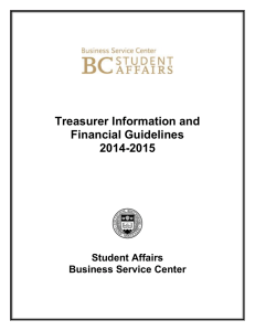 Treasurer Information and Financial Guidelines 2014-2015