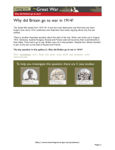 Why did Britain go to war in 1914?