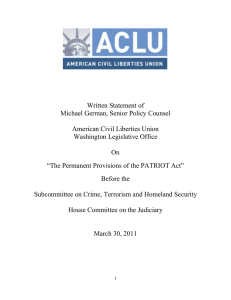Written Statement of Michael German, Senior Policy Counsel  American Civil Liberties Union