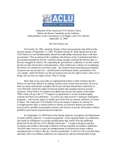 Statement of the American Civil Liberties Union
