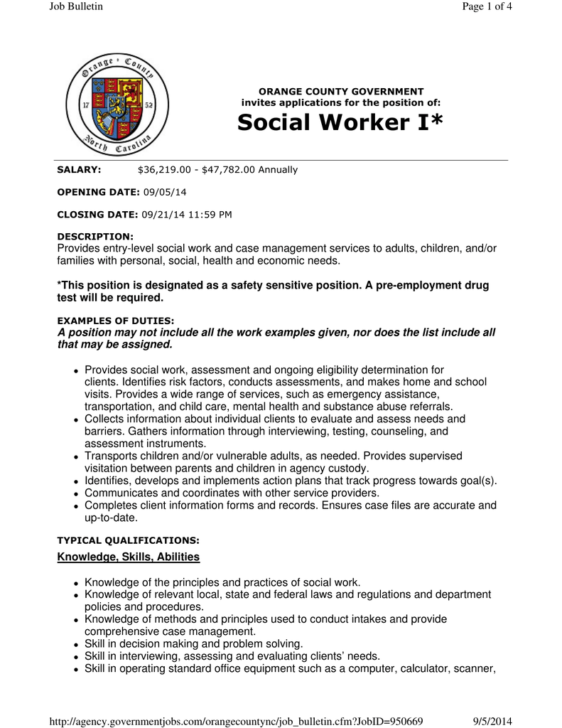 Social Worker I* Page 1 of 4 Job Bulletin