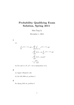 Probability Qualifying Exam Solution, Spring 2011 Shiu-Tang Li December 1, 2012