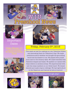 Preschool News W I U Important Dates