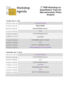 Workshop Agenda 1 PIER Workshop on
