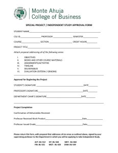 SPECIAL PROJECT / INDEPENDENT STUDY APPROVAL FORM