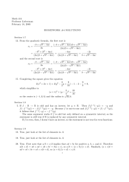 Math 414 Professor Lieberman February 18, 2003 HOMEWORK #4 SOLUTIONS
