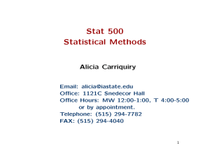 Stat 500 Statistical Methods Alicia Carriquiry