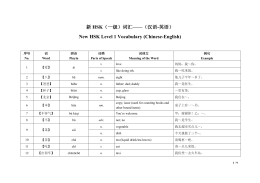 HSK New HSK Level 1 Vocabulary (Chinese-English)