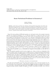 Lecture Notes VIGRE Minicourse on Nonconvex Variational Problems and Applications