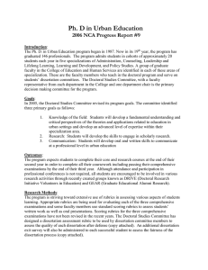 Ph. D in Urban Education 2006 NCA Progress Report #9