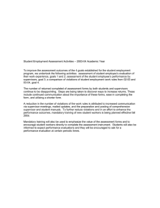 – 2003-04 Academic Year Student Employment Assessment Activities