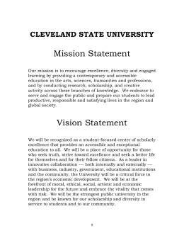 Mission Statement CLEVELAND STATE UNIVERSITY
