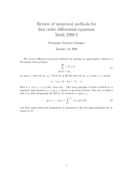 Review of numerical methods for first order differential equations Math 2280-2