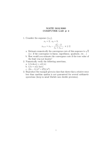 MATH 5610/6860 COMPUTER LAB # 2 }, 1. Consider the sequence {x
