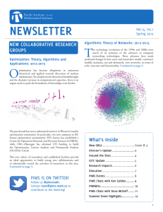 NEWSLETTER T NEW COLLABORATIVE RESEARCH GROUPS