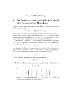 1 The Stochastic Neoclassical Growth Model with Heterogeneous Households
