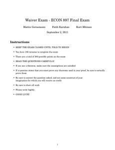 Waiver Exam - ECON 897 Final Exam Instructions Mattis Gornemann Fatih Karahan