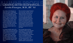 Alumni Profile creating Better Beginnings:  Loretta Finnegan, M.D., HU '64