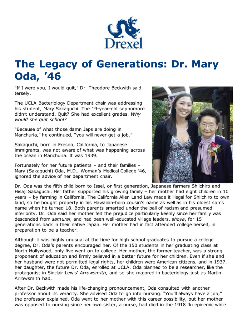 The Legacy of Generations: Dr  Mary Oda, '46