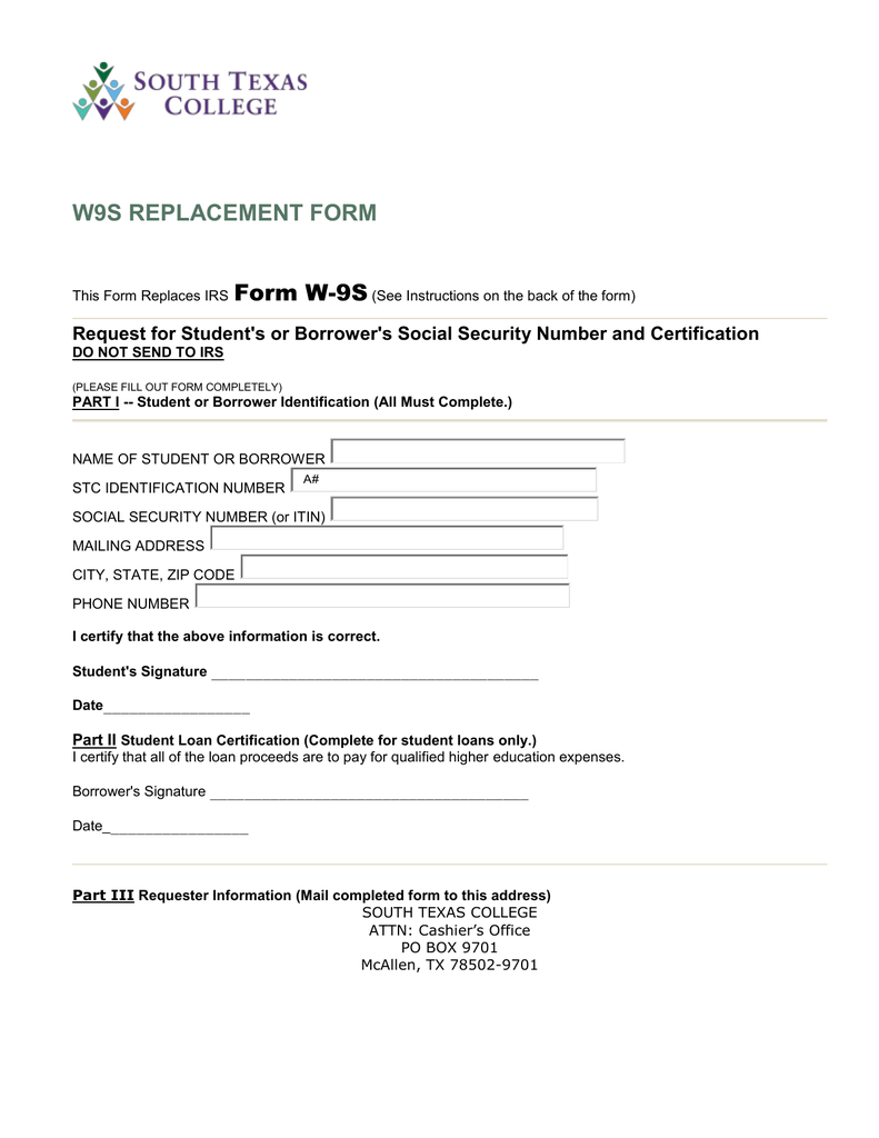 W9S REPLACEMENT FORM Form W-9S