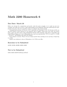 Math 2200 Homework 6 Due Date: March 20