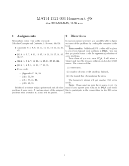 MATH 1321-004 Homework #8 1 Assignments 2