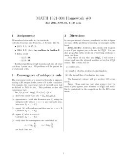 MATH 1321-004 Homework #9 1 Assignments 3