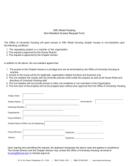34th Street Housing Non-Resident Access Request Form